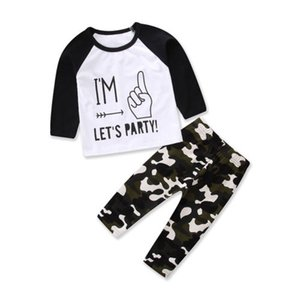2pcs Toddler Baby Girl Boys Kids Tops Long Pants Clothes Outfits Camouflage Set