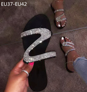 New diamond large size flat heels women designer slippers lady fashion beach sandals female casual shoes no1936