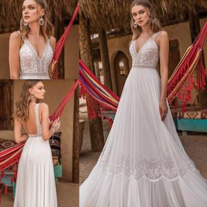 Gonna fluida in chiffon Abiti da sposa in spiaggia in pizzo 2020 Asaf Dadush Abito da sposa informale da sposa a tutta lunghezza senza schienale in Boemia