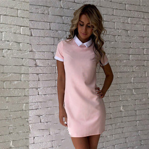 Summer Solid Colorblock Turn-Down Collar Mini Dresses Short Sleeve Slim Fashion Straight Dress Office Lady Simple A-Line Dress