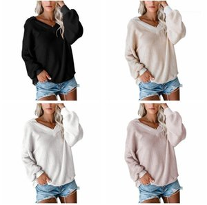 Sweaters Fashion Pure Color Long Sleeve Waffler Sweaters Knit Women Loose Sweater Autumn Women Designer