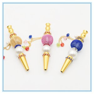 Mode de haute qualité à la main en alliage Hookah bouche colorée diamant arabe Shisha Narguile Filtre Narguilé Accessoires Conseils
