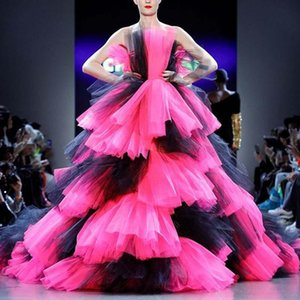 Colorful Prom Dresses Strapless Tiered Tutu Tulle Ball Gown Evening Dress Plus Size Celebrity Pageant Gowns