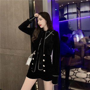 Women spring autumn two-piece set pure color warm bow-tie velvet long sleeve shirt + double-breasted button high-waist velvet shorts