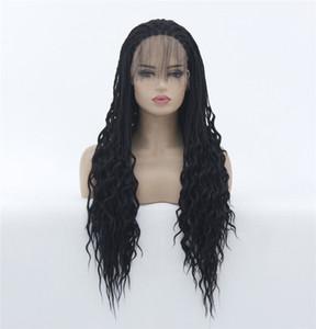 Ucuz örgü tam dantel peruk sentetik siyah renk cornrow örgü tam dantel peruk düzgünce sıkıca siyah kadınlar için saç peruk örgü