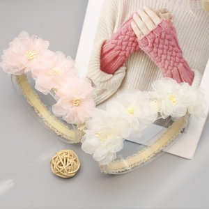 2020 New children's Party hair accessories Lace flower Girls Princess Hair Band full moon Infant Kids Flowers birthday Hairbands S095
