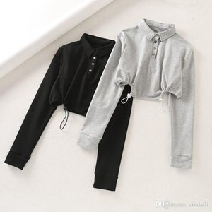 Autumn Women Casual Gray Short Top T Shirts Long Sleeve Female Black Front Buttons Crop Tops Loose Cotton Tee Jumpers