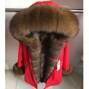 MaoMaoKong Gerçek doğal yaka ceket doğal rakun kürk astar kış ceket Uzun kapüşonlu parkas