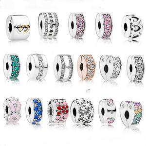 S925 Bracelet en argent sterling Mode Diy perles d'argent de sécurité clip fixe Pandora Perles Argent