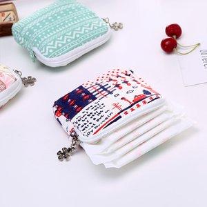 Muchacha de las mujeres linda almohadilla sanitaria organizador precioso impreso monedero de la servilleta de la toalla bolsas de almacenamiento de cosméticos bolsa de la bolsa de la servilleta DH1360 T03