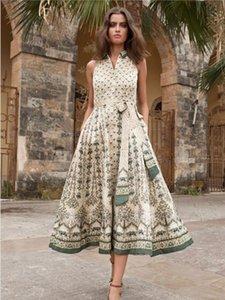 Испания 2020 Лето новых женщин European American безрукавное напечатанное Тонкий платье Элегантный Sexy Темперамент качества