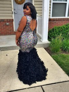 2019 New Crystal Backless Mermaid Formal Evening Gowns for Pregnant Women Luxury Beaded Feather Plus Size Black Girl Prom Dresses