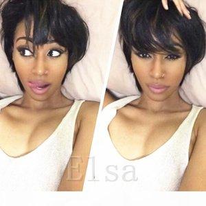 Humaine brésilienne naturelle humaine Perruques Cheap court Glueless perruque pour les femmes noires Celebrity réel cheveux humains courte Perruques Cut