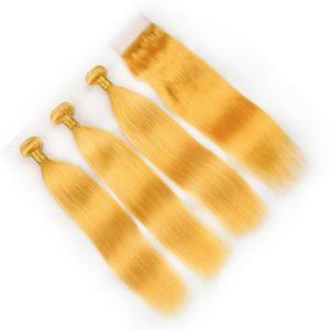 Virgem Cabelo Humano Indiano Pacotes Amarelos Ofertas 3 Pcs com Top Encerramento 4 Pcs Lote Cabelo Liso Amarelo Tece com Fechamento Frontal Do Laço 4x4