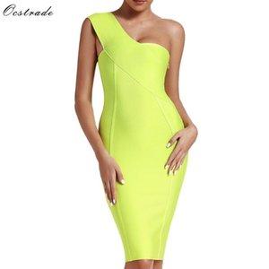 Ocstrade Ünlü Bandaj Elbise Yeni Geliş 2019 Yaz Kadın Neon Yeşili Bandaj Elbise BODYCON Bir Omuz Akşam Partisi