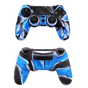 Kaymaz Kamuflaj Vaka İçin PS4 Playstation 4 PS4 / PS4 İnce / PS4 Pro Oyun Kontrolörü Kılıfları Yumuşak Silikon Kapak Cilt Koruyucu kabuk