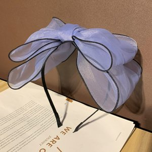 Fashion Bezel Hoop Korean Over-sized Bow Hair Band Daisy Hair Accessories Mesh Yarn Flower Girl Women Headband