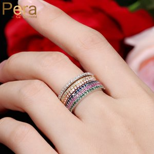 Pera 3Pcs Party Finger Rings Set For Women Fashion Rose Gold And White Color Cubic Zirconia Stone Pave Setting Jewelry R034