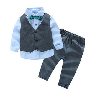 Ragazzi vestiti Imposta bambini vestito formale Boy Shirt + Vest + Pants Outfit Baby Boy Gentleman adatta Set di abbigliamento per bambini