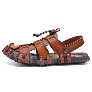 YOUQIJIA New Summer Men Sandals Breathable Leather Men Beach Sandals Casual Shoes Comfortable Slip-on Casual