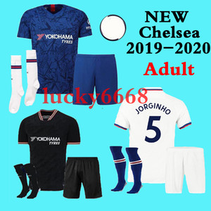 19 20 CHELSEA Conjuntos para adultos + meias de futebol 2019 2020 MORATA Perigo GIROUD DAVID LUIZ camisa de futebol jersey BAKAYOKO RUDIGER WILLIAN maillot