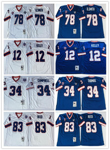 Vintage 1994 35th Jersey Mens # 12 Jim Kelly 34 Thurman Thomas 78 Bruce Smith 83 Andre Reed Football Jersey NCAA