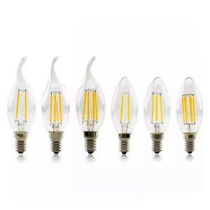Led Candel Ampoules LED base Filament flamme Vintage bougie Ampoule Pour la maison Salle à manger Salon 2W 4W 6W Chambre à coucher Chambre led