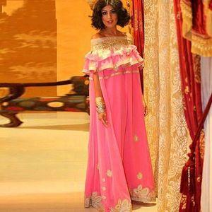 Off The Shoulder Evening Dresses Saudi Arabia Pink Chiffon Gold Appliques prom dresses vintage party dress vestidos de festa