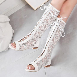 big size 34 to 44 summer shoes white buld silk lace up hollow out open toe flat heel knee high boots women designer sandals come with box