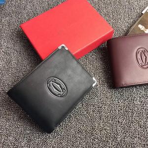 Tendência LOGOTIPO Homens Carteiras Projeto Clássico Preto Couro Genuíno Bolsa Curta, Carteira de Luxo dos homens Vermelho Escuro Para Cartões de Crédito Com Caixa