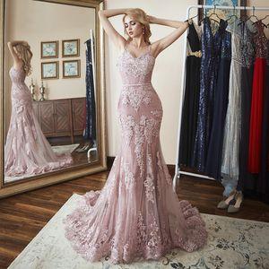 Сексуальная русалка вечернее платье кружева аппликация спагетти ремешок формальное вечернее платье выпускного вечера с тренировочным платьем с низким вечером