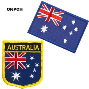 Ücretsiz Kargo Avustralya Bayrağı Nakış Demir on Patch Set başına 2 adet PT0021-2