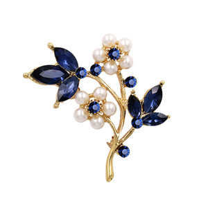 Creative Pins Silver Plated Alloy Flower Petal Clear Rhinestone Brooches For Wedding Gifts Pearl Corsage Pin DHL