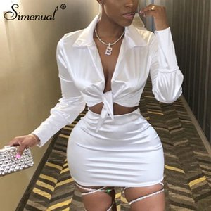 Simenual mode sexy en satin Assortiments Femmes V Neck Party Hot Silk 2 pièces Tenues manches longues Bandage Crop Top et jupe Set