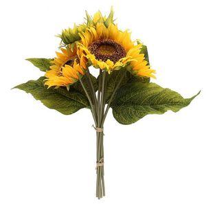 1 Falso Bouquet de seda amarelo Sunflower decorativa Flower 7 Branch acessórios de decoração artificiais folhas de plantas