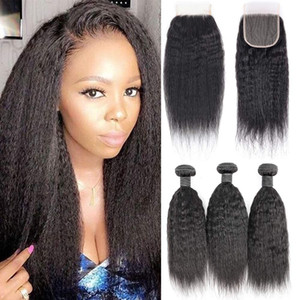 8A Яки кудрявый прямые человеческие волосы 3 пучки с 4x4 кружева закрытие свободная часть, 100% необработанные монгольские Виргинские человеческие волосы плетение расширения