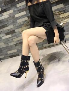 2020 di più nuovo modo delle donne nere Tacchi alti Esclusivo Toe cuoio pompa i pattini donne di alta qualità cintura Luxry stivali