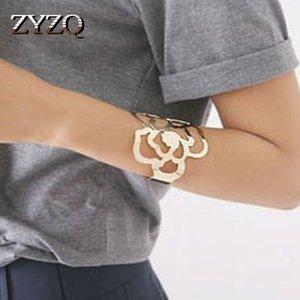 ZYZQ Punk élégant d'or Couleur Rose fleur ouverte Bangle bras poignet Accessoires creux Out Design gros LotsBulk