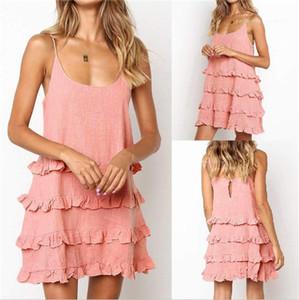 Arrefecer Dresses Designer U-Neck Sexy Mulheres Camisola Moda roupas femininas Mulheres Verão Vestido Spaghetti Strap Ruffle