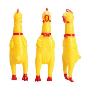 حار بيع 16CM الأصفر المطاط صراخ الدجاج الحيوانات الأليفة لعبة الكلب جرو مضغ صرير التنفيس لعب