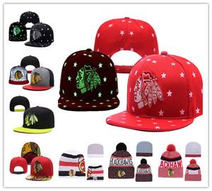 Чикаго Блэкхокс Хоккей Вязаные шапочки Вышивка Регулируемая шапка Вышитые шапки Snapback Черные белые красные серые сшитые шляпы