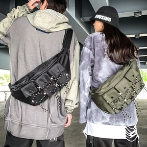 Ougger New Hip-hop Style Waist Bag Fashion Function Versatile Shoulder Bag Japanese Leisure Sports Work Clothes Chest Bag
