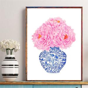 Blue and White China Art Vaso parete Canvas Poster Stampa Chinoiserie Pink Peony Pittura Immagine Trending Now arte della decorazione della casa