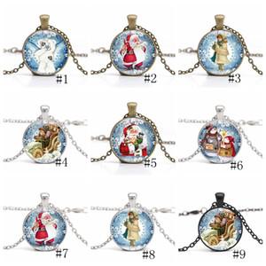 Collier De Noël Temps Gem Cabochon Collier Père Noël Bonhomme De Neige Cristal Colliers Longue Chaîne De Noël Pendentif Bijoux nouveau GGA2670