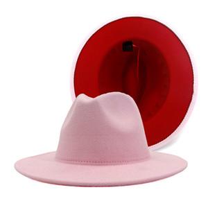 트렌디 한 핑크 레드 패치 워크 큰 모자 챙을 가짜 양모 가죽 밴드 재즈 캡 트릴 카우보이 파티 모자 페도라 모자 여성 빈티지 펠트