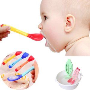 3pcs Baby Feeding Spoon Safety Temperature Sensing Spoon Food Grade Silicone Flatware Spoon Kitchen Untensils Accessories