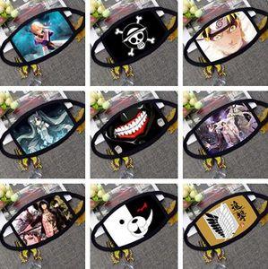 Máscara de dibujos animados de Anime para adultos, niños, diversión, vestido de lujo, media cara, boca, máscara de mufla, polvo reutilizable, cálido, a prueba de viento, máscaras de algodón, negro, blanco