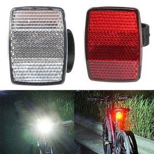 Bike Light haute qualité réflecteur avec support en plastique support de guidon Coffre-fort réflecteur arrière vélo avant vélo Avertissement Rouge / Blanc