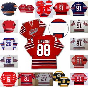 Maglia di Oshawa Generals 88 Eric Lindros 27 Kewin 26 Shane Doyle 31 Dirienzo 91 John Tavares 2 Bobby Orr 6 Jimmy McDowell Maglia da hockey