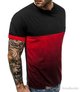 Verano camisetas color del remiendo Gym Fitness Sports camisetas de manga corta Tops 19SS nuevo Mens